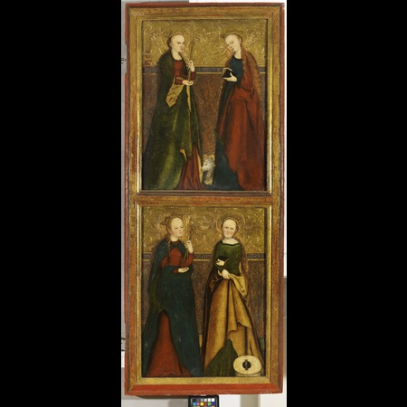 Master IW - Severoceská galerie výtvarného umení, Litomerice (North Bohemian Gallery of Fine Arts, Litomerice) - St Ursula, Agnes, Apolonia and Christine [recto], St Sigismund [verso] (right wing of the so-called Altarpiece of Litomerice) - Overall