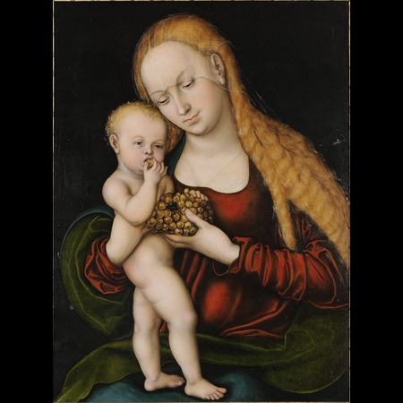 Cranach - Virgin with child nibbling grapes