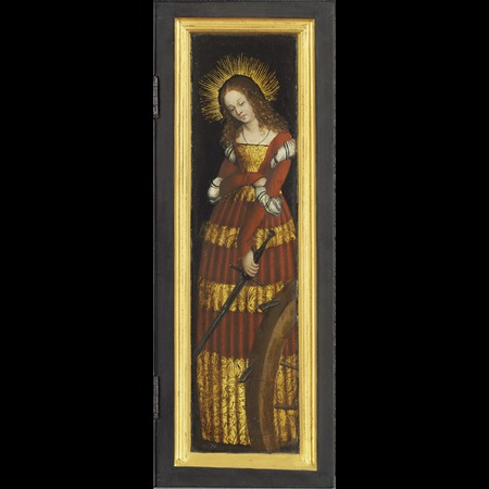 Lucas Cranach the Elder - Gemäldegalerie Alte Meister, Kassel - Portable Altarpiece belonging to Landgrave Wilhelm II. of Hesse and Anna of Mecklenburg: St Catherine [right wing] - Overall