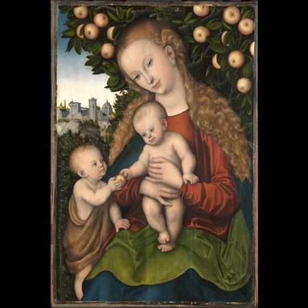 Cranach - Virgin and Child with St. John under an apple tree