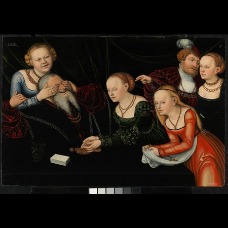Lucas Cranach the Elder - Private Collection - Old Man and Young Courtesans - Overall
