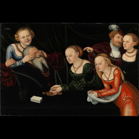 Cranach - Old Man and Young Courtesans