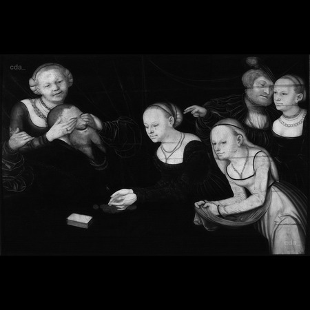 Lucas Cranach the Elder - Private Collection - Old Man and Young Courtesans - Infrared Images