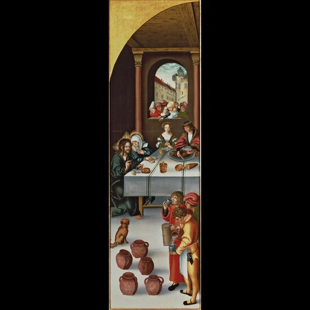 Cranach - Triptych with Christ among the Doctors [left panel]: The Multiplication of the Loaves and Fishes [recto], Saint Elizabeth of Thuringia giving Alms [verso]