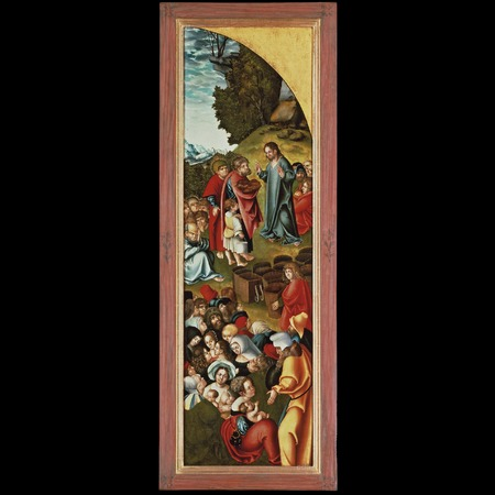 Workshop Lucas Cranach the Elder - Private Collection - Triptych with Christ among the Doctors [right panel]: The Marriage at Cana [recto], The Nativity [verso] - Overall