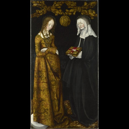 Cranach - Altarpiece with the Martyrdom of St Catherine: Saints Christina and Ottilia [right wing, verso]