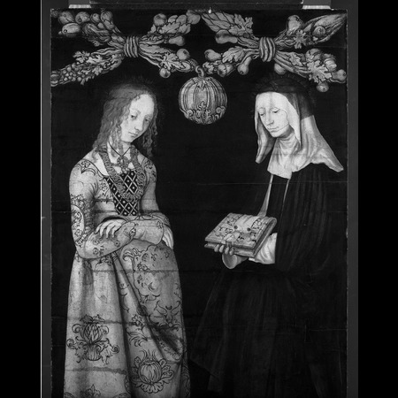 Lucas Cranach the Elder - The National Gallery, London - Altarpiece with the Martyrdom of St Catherine: Saints Christina and Ottilia [right wing, verso] - Infrared Images