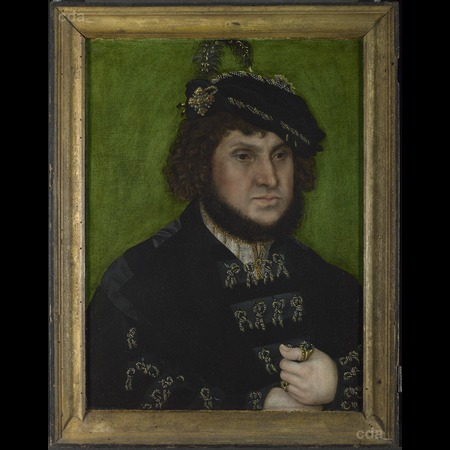 Lucas Cranach the Elder - The National Gallery, London - Portrait of Johann the Steadfast from Diptych: Two Electors of Saxony - Overall