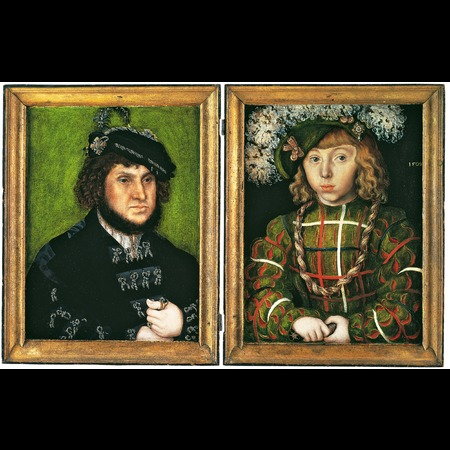 Lucas Cranach the Elder - The National Gallery, London - Portrait of Johann Friedrich the Magnanimous from Diptych: Two Electors of Saxony - Overall